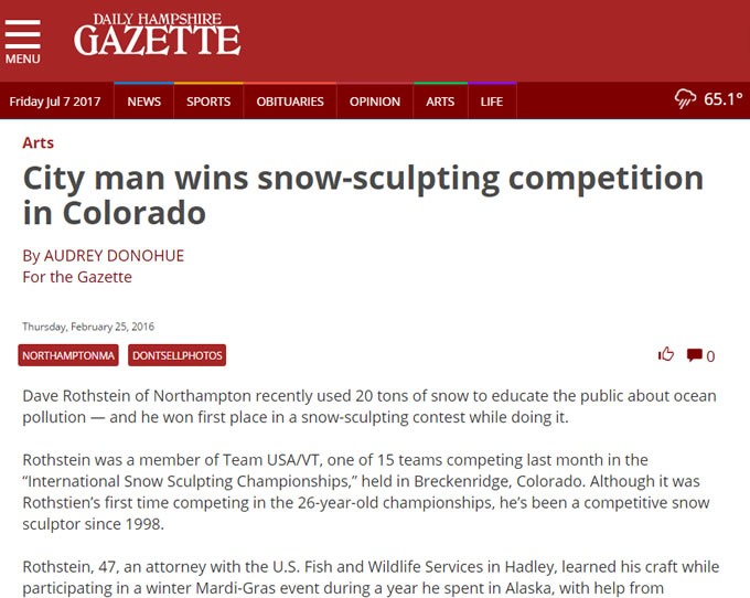 City Man Wins Snow-Sculpting Competition In Colorado