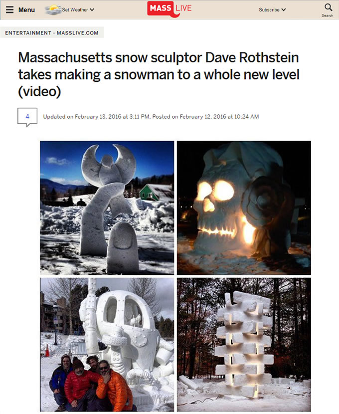 Massachusetts Snow Sculptor Dave Rothstein Takes Making A Snowman To A Whole New Level