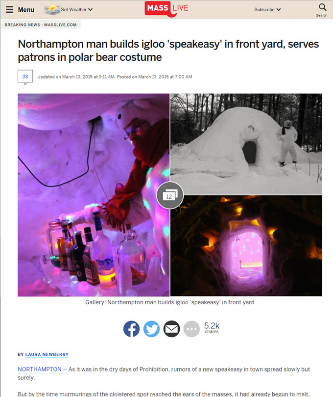 Northampton Man Builds Igloo Speakeasy
