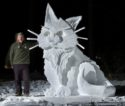Northampton Man, Known For Frequent Winter Creations, Builds 8 Foot Tall Cat Sculpture From Snow In Backyard