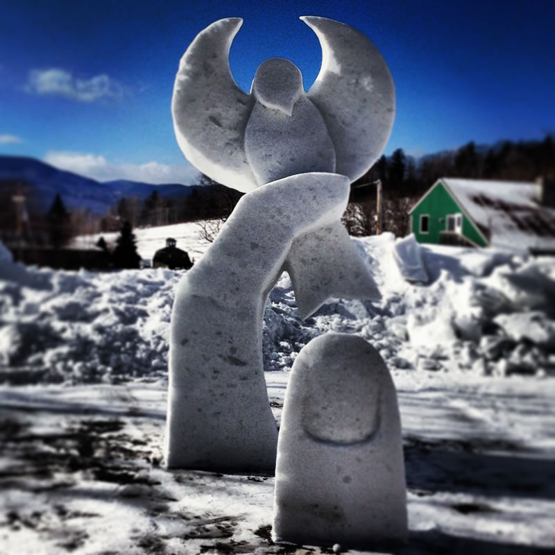 8' tall, with Philip Thornton. New Hampshire Regional Invitational Snow Sculpting Competition, Jackson, NH