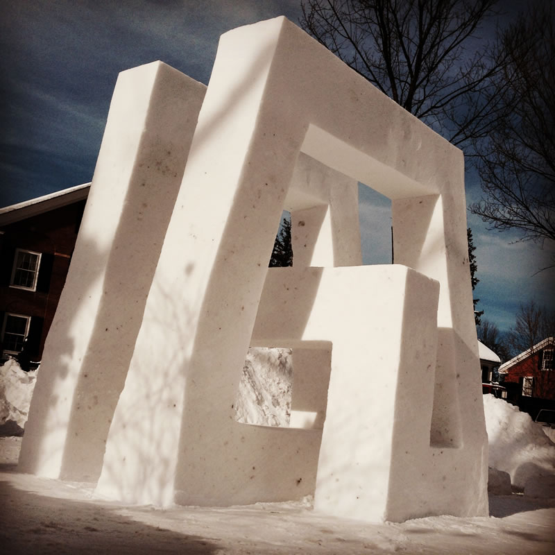 8' tall, with Michael Nedell. Woodstock Flurry Snow Sculpture Festival. 3rd Place