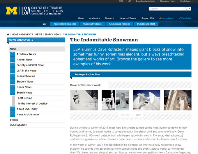 The Indomitable Snowman – University Of Michigan Alumni Magazine