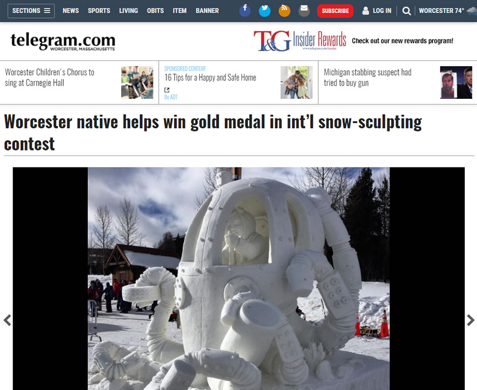 Worcester Telegram – Worcester Native Helps Win Gold Medal In Int'l Snow Sculpting Contest