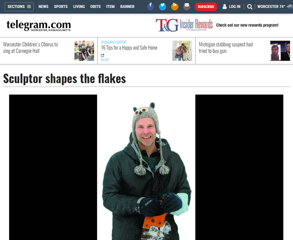 Worcester Telegram – Sculptor Shapes The Flakes